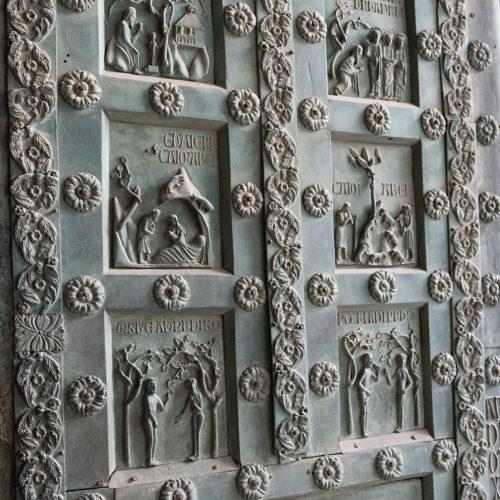 Bronsedør (Bonanno da Pisa, ca 1180) Monreale-katedralen: Adam og Eva