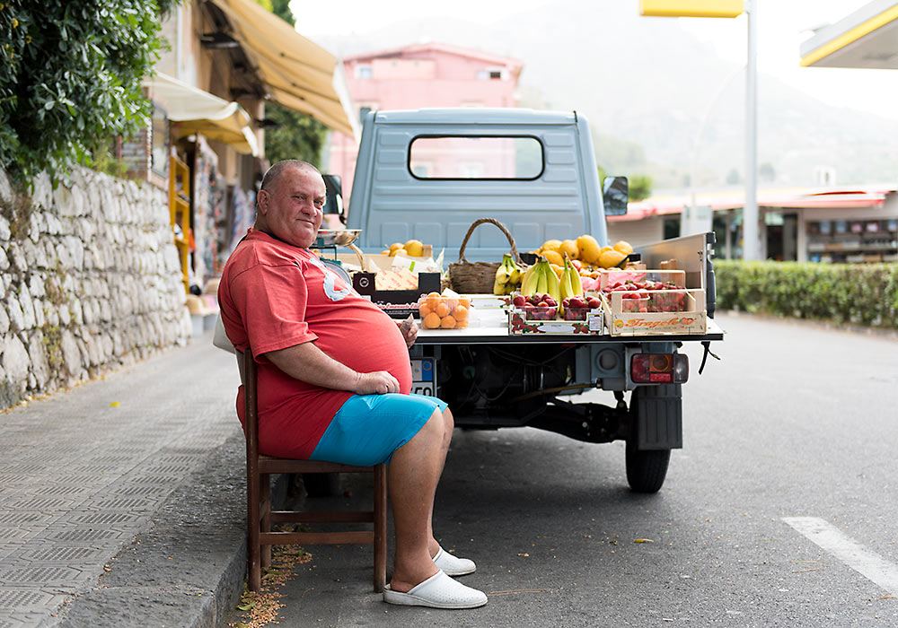 Fruktselger i Taormina