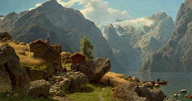 Hans Fredrik Gude: Fjordlandskap fra Balestrand, 1848
