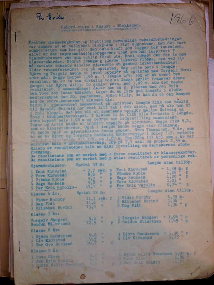Bølerskogen - resultatliste fra 1966
