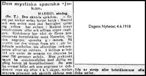 Spanskesjukan Sverige juni 1918