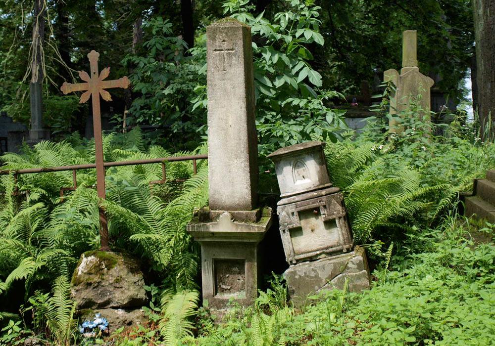 Gravstøtter på kirkegård i Lviv i Ukraina