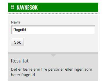 Ragnild - navnesøk Statistisk sentralbyrå.