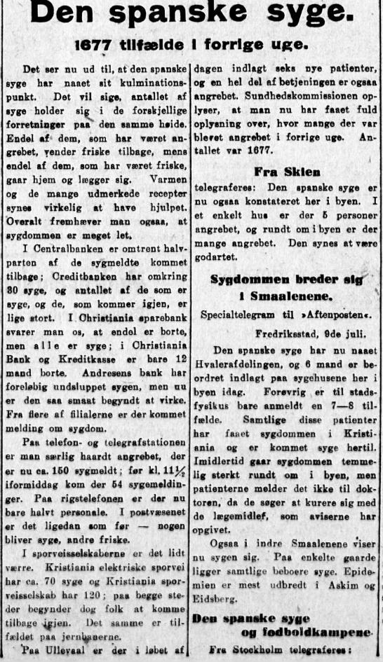 Spanskesyken 9.7.1918
