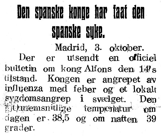 Avisnotis 5.10.1918: Kong Alfons får spanskesyken