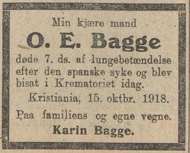 Dødsannonse i Morgenavisen - spanskesyken 1918
