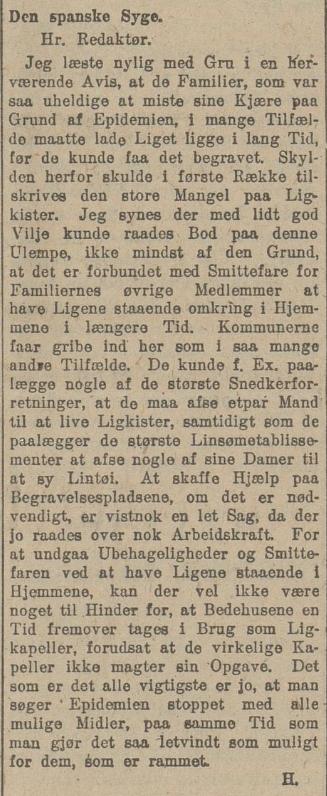 Spanskesyken 24.10.1918