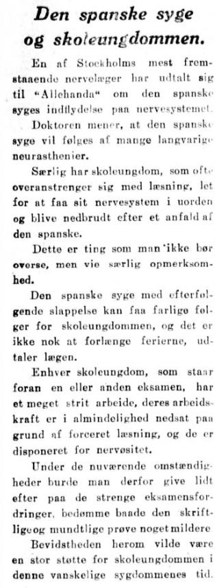 Spanskesyken 25.10.1918