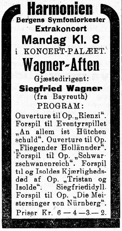 Siegfried Wagner konsert i Norge 1922