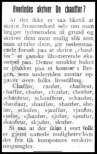 chauffeur: norvagisering og fornorsking