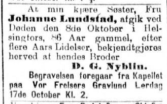 dødsannonse Aftenposten, 1908