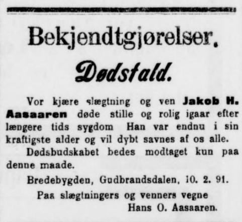 dødsannonse 1891