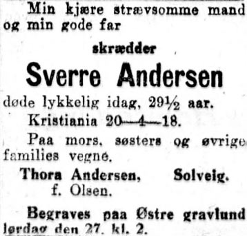 dødsannonse Aftenposten 1918