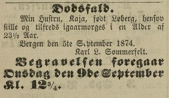 dødsannonse 1874