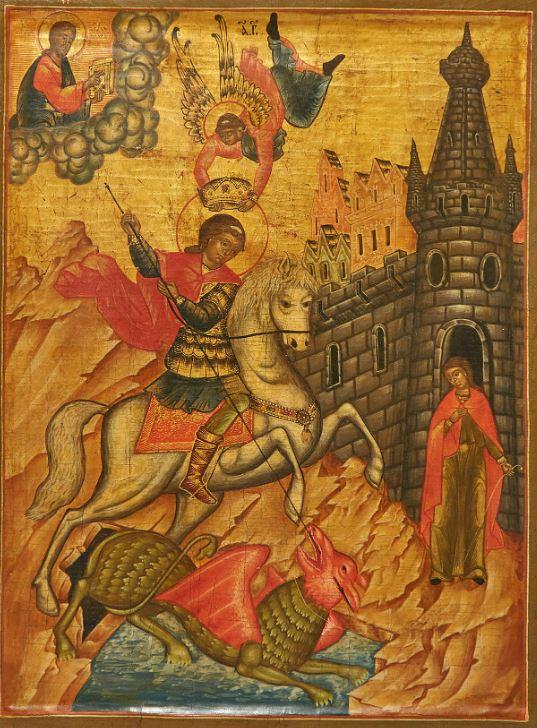 Russisk ikon som viser St. Georgs kamp mot dragen